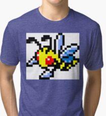 Pokemon 8-Bit Pixel Beedrill 015 Tri-blend T-Shirt