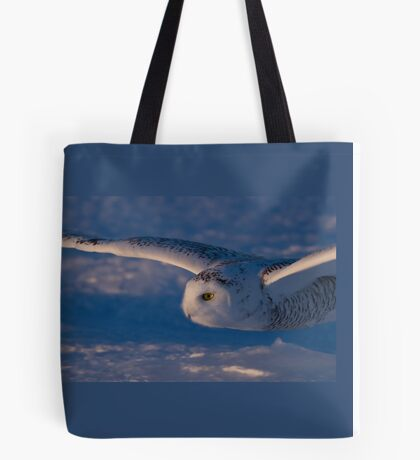 Snowy Owl flys at Sunset Tote Bag
