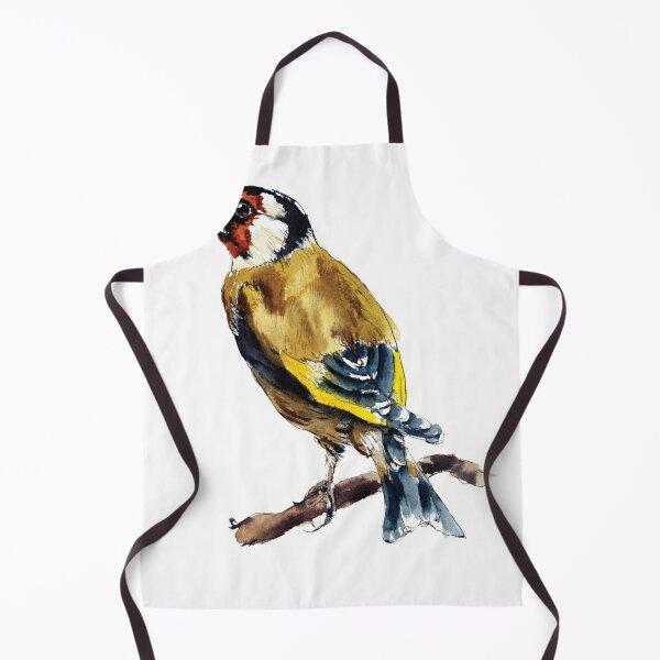 Linen Cafe Apron with goldfinch bird art
