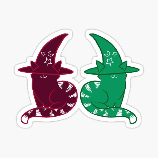 Twin Christmas Witch Kitties Sticker