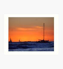 Waikiki Sunset and Sailing Vessels Art Print
