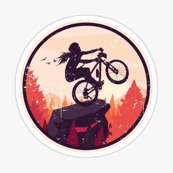 cool female mountain biker on mountain rock MTB wheelie Sticker