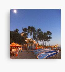 Full Moon Rising on the Surf at Waikiki Canvas Print