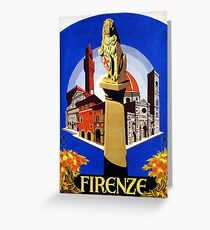 Florence Firenze 1920s Italian travel ad, lion column Greeting Card