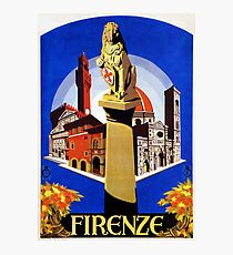 Florence Firenze 1920s Italian travel ad, lion column Photographic Print