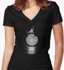 Vinyl music art 2 Women's Fitted V-Neck T-Shirt