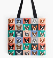 Boston Terriers tile pattern repeat cute dogs puppy boston terrier pet friendly gifts for dog person  Tote Bag