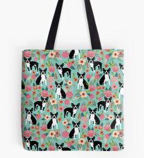 Floral Boston Terrier cute dog spring bloom love valentines day gift terrier black and white puppy Tote Bag