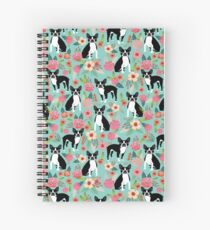 Floral Boston Terrier cute dog spring bloom love valentines day gift terrier black and white puppy Spiral Notebook