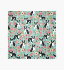 Floral Boston Terrier cute dog spring bloom love valentines day gift terrier black and white puppy Scarf