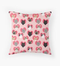 Cats valentines day cute gift for cat lady funny kitten hearts lovely pets Throw Pillow