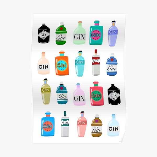 Gin bottles poster Poster