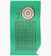 Retro geek Gumby green Transistor Radio design Poster