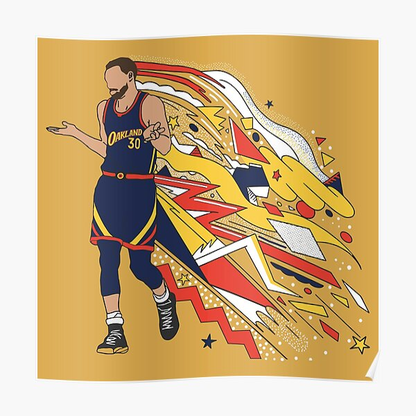 """Steph Curry - Shrug in Oakland """"We Believe"""" Jersey Poster"""