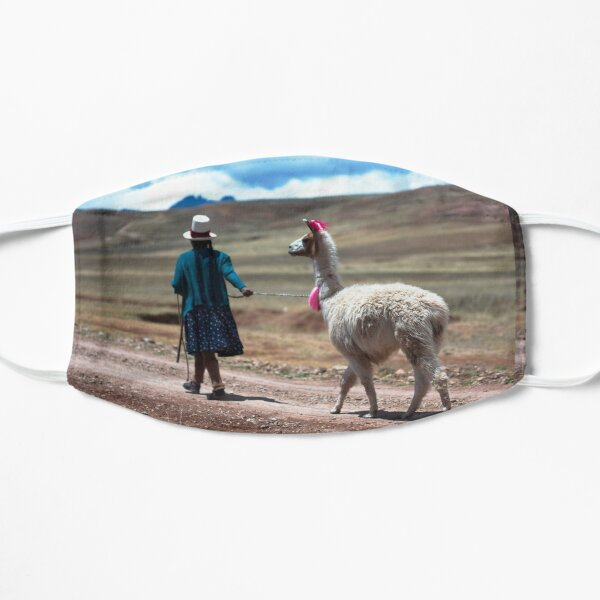 Andean Mountain Woman w/ Llama - Peru Flat Mask