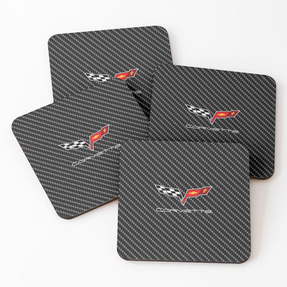 Corvette logo with Carbon Coasters (Set of 4)