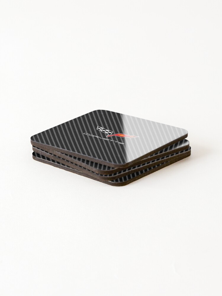 Alternate view of Corvette logo with Carbon Coasters (Set of 4)