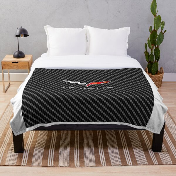 Corvette logo with Carbon Throw Blanket