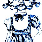 don't stare too long - blue ink drawing by minxi by Kari Sutyla