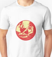 Chinese Cook Chop Meat Oval Circle Woodcut T-Shirt