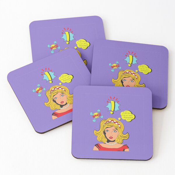 'The next great idea for a romance novel' Coasters (Set of 4)