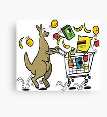 Cartoon kangaroo shopper with trolley full of groceries Canvas Print