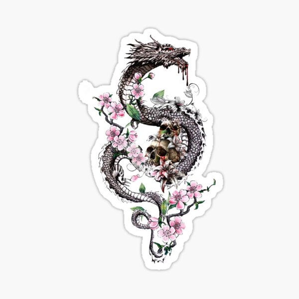 Dragon with Flowers and Skulls Sticker
