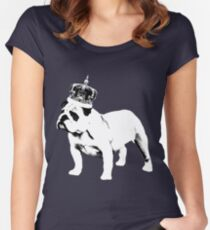 English Bulldog and Crown Women's Fitted Scoop T-Shirt