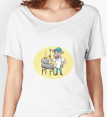 Cow Barbecue Chef Smoker Oval Cartoon Women's Relaxed Fit T-Shirt