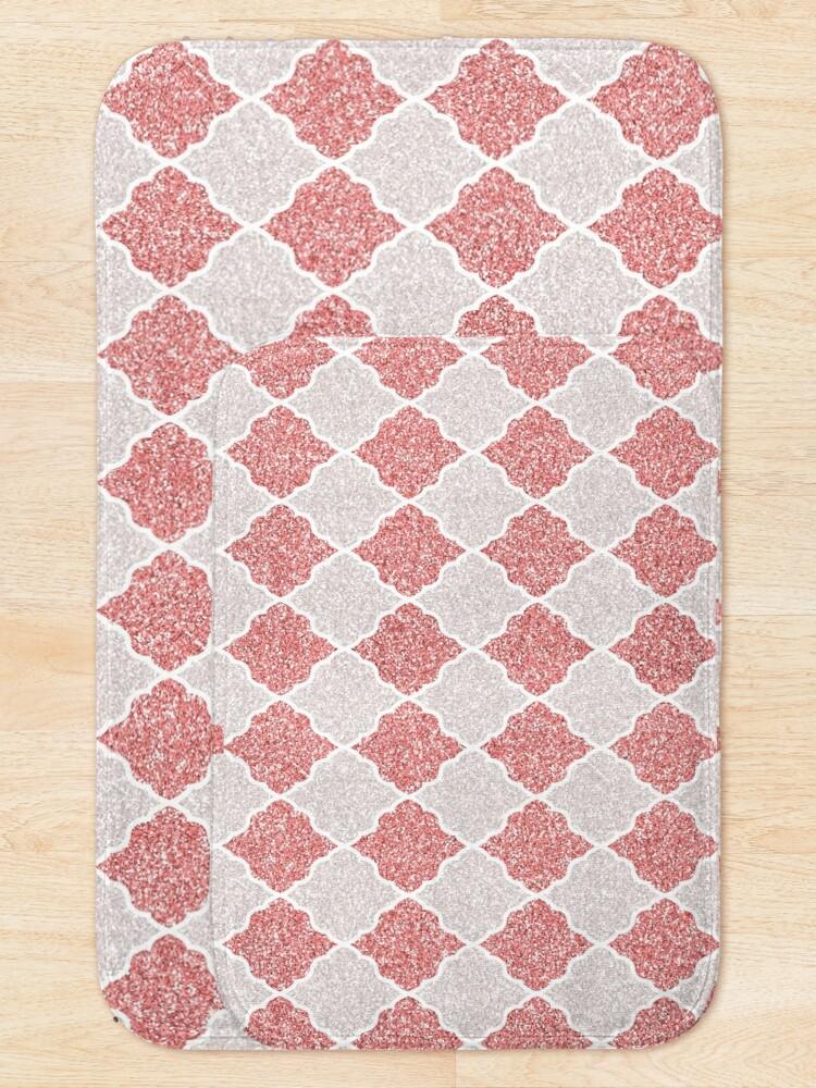 Alternate view of Girly Glitter Moroccan Quatrefoil Pattern Bath Mat