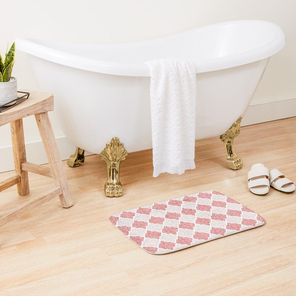Girly Glitter Moroccan Quatrefoil Pattern Bath Mat