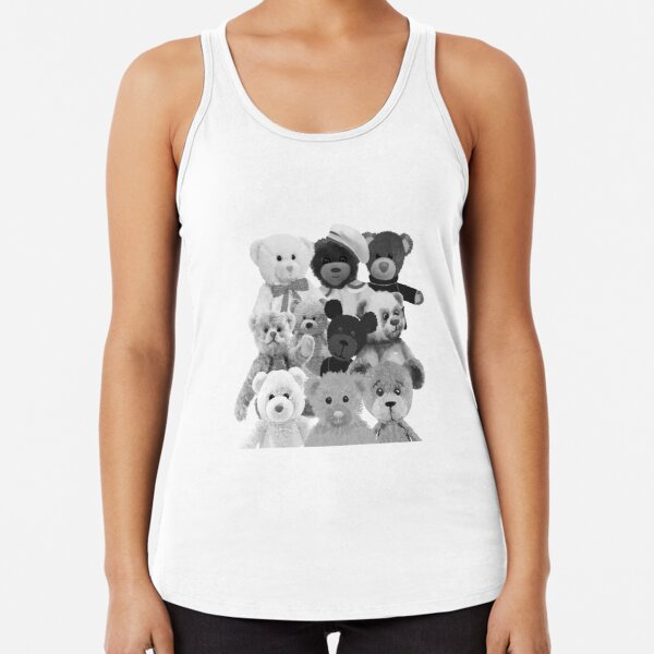 Teddy bear - lots of teddy bears - black and white Racerback Tank Top
