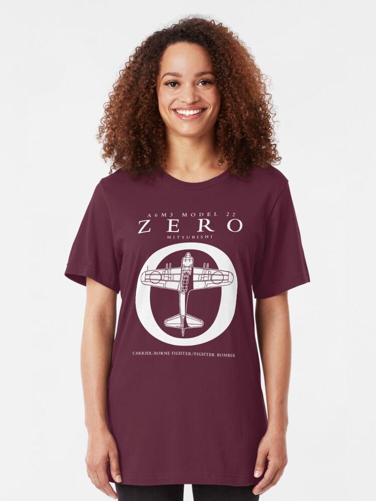 Alternate view of Mitsubishi Zero! Banzai! Slim Fit T-Shirt