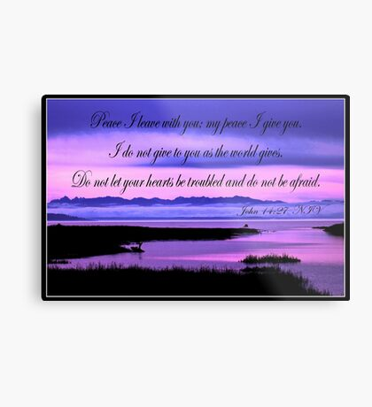 john 14:27 olympic mountains over north puget sound - pink Metal Print