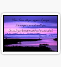 john 14:27 olympic mountains over north puget sound - pink Sticker