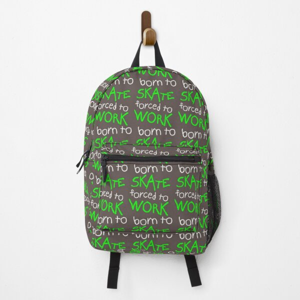Born to Skate Forced to Work - Green Skeleton Zombie Skateboarder  Backpack