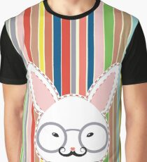 Rabbit Head with Glasses Graphic T-Shirt