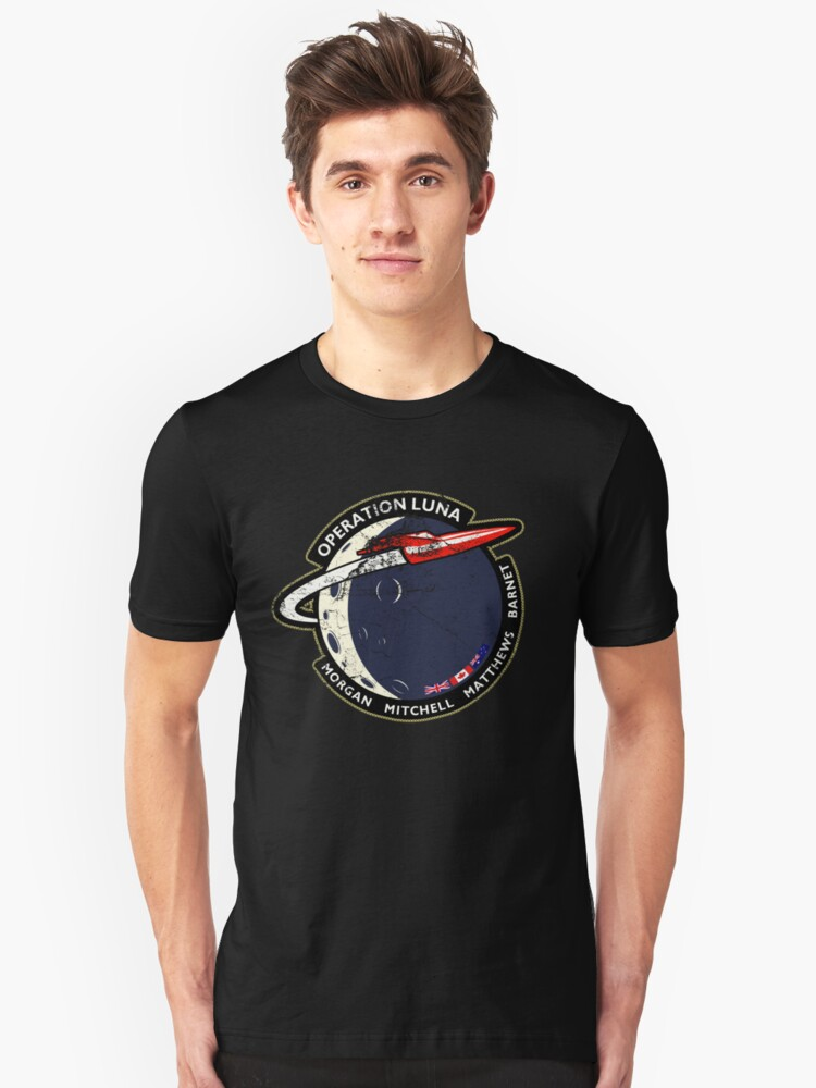Journey Into Space - Operation Luna Mission Patch - Distressed Unisex T-Shirt Front