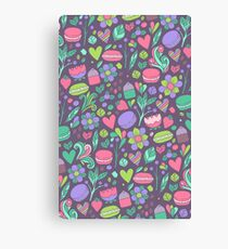 Macarons and flowers Canvas Print
