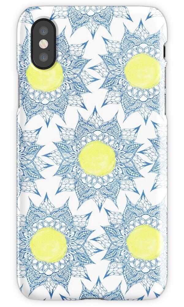 quotboho blue henna mandala yellow sun patternquot iphone cases