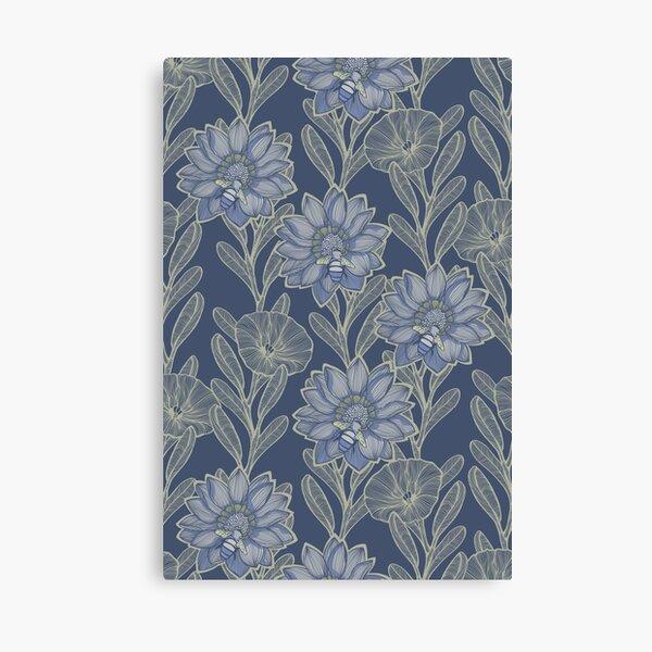 Bee Garden - Retro Blues & beige Color Palette Canvas Print