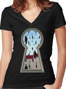 """Magritte from the lock"" Women's Fitted V-Neck T-Shirt"