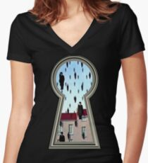 """""""Magritte from the lock"""" Women's Fitted V-Neck T-Shirt"""