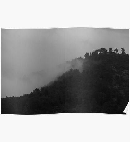 Mountains of Jerusalem in a foggy day Poster