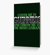 Funny Irish beer and lesbians Greeting Card