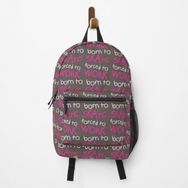 Born to Skate Forced to Work - Pink Skeleton Zombie Skateboarder  Backpack
