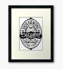 Woodcut Sasquatch Label Framed Print