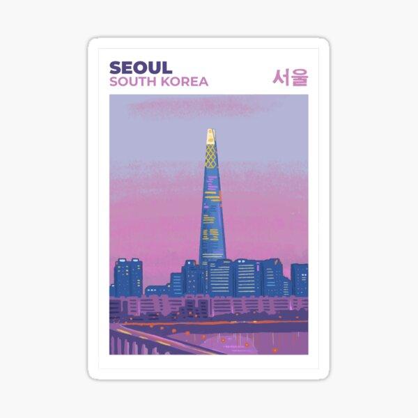 Seúl Corea del Sur | Pantone Purple Viajar Pegatina