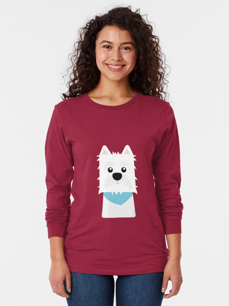 Alternate view of White West Highlad Terrier Long Sleeve T-Shirt