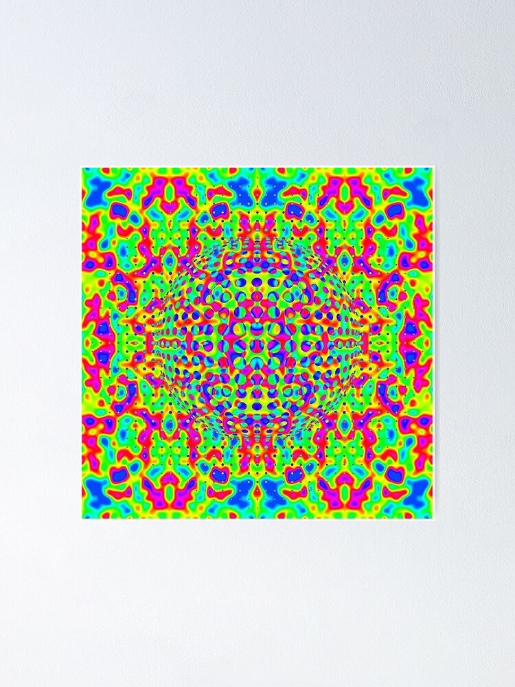 Alternate view of Psychedelic Art, Psychedelia, Psychedelic Pattern, 3d illusion Poster